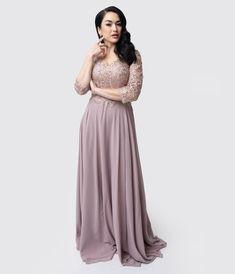 0bb232e0505 Mocha   Gold Embellished Appliqué Sleeved Chiffon Gown