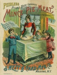 "Swett & Card Peerless Home Made Mince Pie Meat trade card. Swett & Card Manufacturing Company was established in 1889 and was abandoned by 1894 ""owing to sharp competition and other causes,"" according to a history of Orleans County, New York. That puts an unusually precise date range on this advertisement."