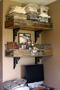 Great shelf idea from old drawers and decorative brackets.... THIS LOOKS AWESOME:)