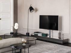 Download the catalogue and request prices of Pixel By cattelan italia, low lacquered adjustable tv cabinet design Paolo Cattelan