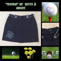 """Black Golf Skirt with Embroidered Flowers⛳️ Black Golf Skort with attached spandex shorts. Button and tab detailing at waist. Green and white floral embroidery on bottom of skirt. Two side seam pockets. slight stretch to fabric. One back pocket and hidden zipper. """"Swing"""" by Bette & Court Skirts Mini"""