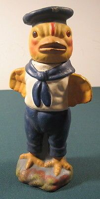 Rare Vintage Paper Mache Sailor Chick Chicken Candy Container Germany Nice !!