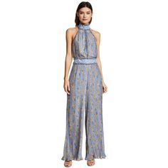 We Are Kindred Helena Pleated Jumpsuit (1.415 BRL) ❤ liked on Polyvore featuring jumpsuits, ditsy bluebell, floral print jumpsuit, wide leg jumpsuit, blue jumpsuit, sleeveless jumpsuits and halterneck jumpsuit