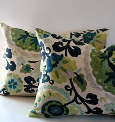 Pair of Suzani Floral Pillows 14X20 lumbar Designer Pillow Green Blue Yellow Gray Turquoise Midnight Blue Aqua Cotton