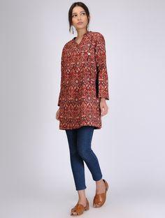 Buy Indigo Block Printed Silk Jacket Noil Women Jackets Winter's Muse Contemporary tussar linen and kalamkari kurtas Online at Jaypore.com