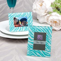 Aqua Blue Zebra Pattern Place Card Holder Picture Frame Favors