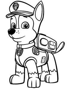 Piesek Chase - kolorowanka z bajki Psi Patrol