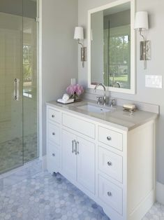 Love the floor and the vanity -- might use different hardware (glass pulls, different faucet)    Contemporary Bathroom Design, Pictures, Remodel, Decor and Ideas - page 194
