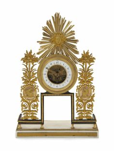A FRENCH GILT BRONZE AND MARBLE MANTLE CLOCK, SECOND HALF 19TH CENTURY