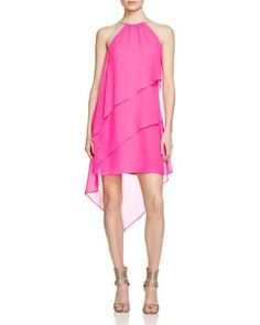 Laundry by Shelli Segal Sleeveless Halter Tiered Cocktail Dress | Bloomingdale's