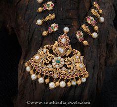Gold Black Thread Necklace Designs, Gold Antique Black Thread Necklace Designs