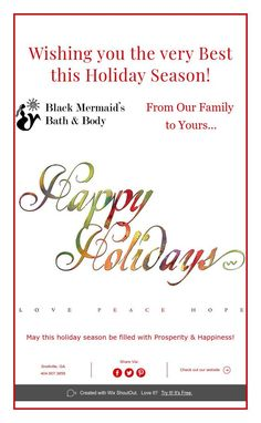 Wishing you the very Best this Holiday Season! Black Mermaid, Create Website, Shout Out, Bath And Body, Wish, Seasons, Happy, Holiday, Products