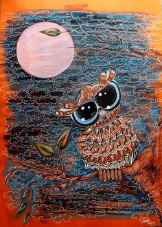 Owl & moon - Artwork by Paula Wawrzynek. Owl Artwork, Owl Moon, Owl Illustration, Moon Pictures, Wise Owl, Painting & Drawing, Artsy, Owls, Cool Stuff