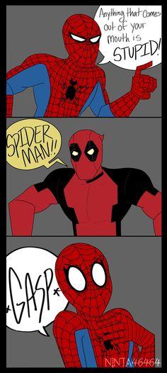 Deadpool and Spider Man Avengers Memes, Marvel Jokes, Marvel Funny, Marvel Dc Comics, Marvel Heroes, Funny Comics, Marvel Avengers, Funny Cartoons, Spideypool