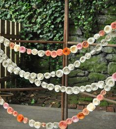 Orange, Pink & Recycled Book Page Paper Flower Garland