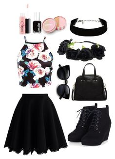 """Floral grunge"" by weepingwillow12 ❤ liked on Polyvore featuring Chicwish, Furla, jane, MAC Cosmetics and Essie"