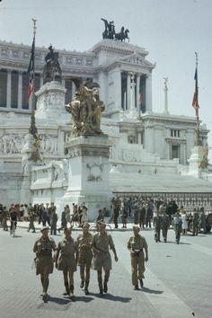 ENTRY OF ALLIED TROOPS INTO ROME, 5 JUNE 1944. Allied troops by the Vittoria Emmanuel Memorial.
