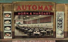 Horn & Hardart Automat on 57th Street. Photo: Horn & Hardart/Lumitone Photography, New York via Wikimedia Commons
