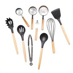 MoDRN Scandinavian 10 Piece Silicone and Wood Kitchen Tools and Gadgets Set Kitchen Tools And Gadgets, Kitchen Supplies, Kitchen Ideas, Rustic Kitchen, Kitchen Dining, Mall, Solid Wood Furniture, Kitchen Furniture, Furniture Design