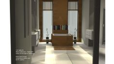 Large Bathroom with mirror to the right of entrance to double up a narrow passage