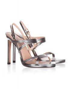 High heel sandals in steel metallic leather