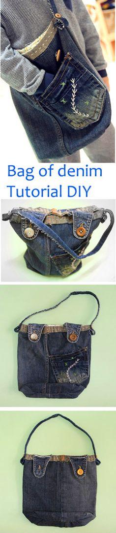 How to sew a small bag of denim old jeans.  DIY step-by-step tutorial. Как сшить сумочку  из джинс