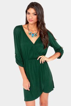 Overlap of Luxury Dark Green Wrap Dress at LuLus.com! #lulus #holidaywear