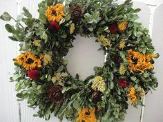 Indoor Wreath, Outdoor Wreaths, Outdoor Decor, Twig Wreath, Boxwood Wreath, Acorn Wreath, Burlap Wreaths, Dried Sunflowers, Drying Roses