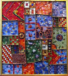 Tapestry:Summer, originally uploaded by Marian and David. A mosaic by Sydney artist Marion Shapiro who has a background in fine art and theatre. She has a definite love of texture and this is a gre… Mosaic Wall Art, Glass Wall Art, Tile Art, Mosaic Glass, Stained Glass, Mosaic Crafts, Mosaic Projects, Mosaic Ideas, Mosaic Designs