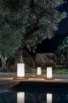 Cell, Lamp in lacquered bronze steel inox, lampshade in white methacrylate (PMMA) Outdoor Lighting Your Garden, Plant Lighting, Backyard Lighting, Outdoor Lighting, Outdoor Decor, Outdoor Floor Lamps, Outdoor Light Fixtures, Outdoor Flooring, Outdoor Plants