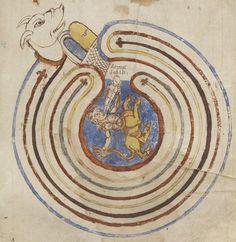 "«Laborinthus dicebatur domus dedali» [The labyrinth is called the house of Daedalus.""] Codicis Theodosiani libri sexdecim..., c. 801-900, Latin 4416, f. 35r, Bibliothèque nationale de France."