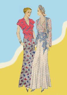 1930s Fashion, Retro Fashion, Vintage Fashion, Women's Fashion, Fashion Illustration Sketches, Fashion Sketches, Vintage Dress Patterns, Vintage Dresses, Carolina Herrera