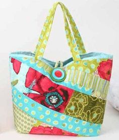 """Have fun designing your own custom bag with this quick pattern. The bag is made using an easy quilt-as-you-go technique. Piece it using all 2"""" wide fabric"""