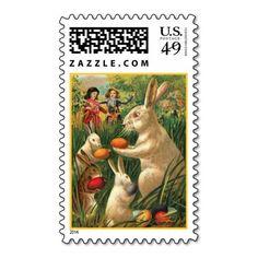 Vintage Easter Egg Hunt Postage Stamps