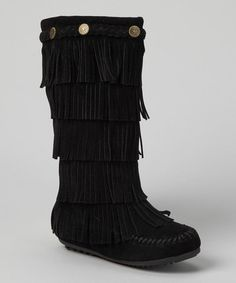 Take a look at this Black Tiered Fringe Boot by Shoes of Soul on #zulily today!