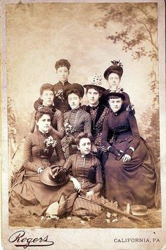 1880s photo. Variety of fabrics and textures on the dresses. Postman hat on lady in middle.Lady on right wearing mitts.