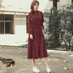 Осеннее платье Цветочный принт велюр плиссе Высокая Талия винтажное платье с длинным рукавом Свободные повседневные платья vestidos Размер S Lкупить в магазине Mira's Natural LifeнаAliExpress