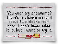 Iron Man Cross Stitch Pattern - 8-bit Shawarma Quote by crossstitchheroes on Etsy https://www.etsy.com/listing/121954499/iron-man-cross-stitch-pattern-8-bit