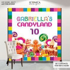 Candyland Backdrop,Candyland Birthday Banner Candyland Party Backdrop Any Age CANDYSHOP party Baking party, Printed backdrop