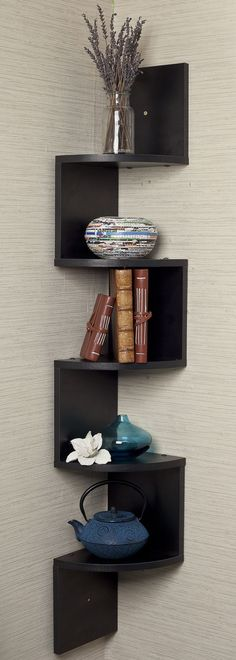 Black Corner Zig Zag Wall Shelf //