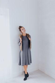swing dress + fur vest + booties