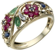 Vivid 9ct gold #diamond & multi coloured gemstone ring