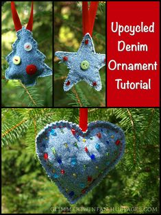 How to Make Ornaments out of Recycled Jeans - These upcycled ornaments are cute for any occasion, not just Christmas, and are made from recycled denim. They are a great craft to repurpose old blue jeans. by MyLittleCornerOfTheWorld Jean Crafts, Denim Crafts, Upcycled Crafts, Repurposed, Crochet Christmas Ornaments, Christmas Crafts, Christmas Stocking, Fabric Crafts, Sewing Crafts
