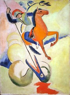 George and the Dragon, August Macke was one of the leading members of the German Expressionist group Der Blaue Reiter. He lived during a particularly innovative time for German art which saw the development of the main German. August Macke, Wassily Kandinsky, Hl Georg, Kolumba Museum, Holy Art, Maurice De Vlaminck, Saint George And The Dragon, Franz Marc, Ouvrages D'art