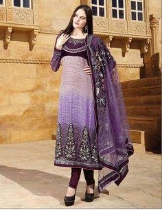 $106.96 Bluish Purple and Pink Jacquard and Net Full Sleeve Long Designer Salwar Kameez 15873