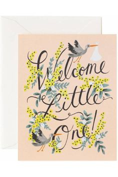 """This fun and cheery card from Rifle Paper Company is a nice way to congratulate a friend on the arrival of their new baby. The design features a couple of storks and yellow flowers adorning the words Welcome Little One! Made by Rifle Paper Company, this pretty card is printed in the USA using environmentally responsible printing techniques. It is an A2 format card, so it measures 4.25"""" by 5.5"""" and includes a high quality envelope. The inside is left blank for your personal message…"""