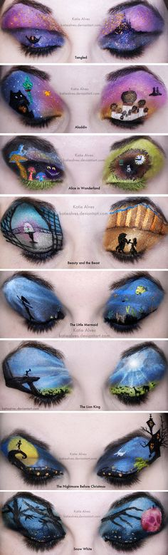 An inspired way to do eye make - each one is a painting of a disney scene!