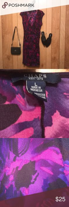 """Chaps Floral Short Sleeve Dress Chaps Floral Short Sleeve Midi Dress  Purple and pink floral pattern  Size: Large Length: 43""""  Only worn twice. Chaps Dresses Midi"""