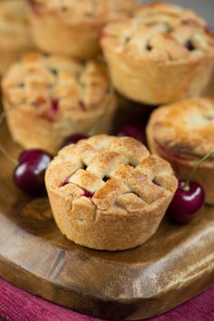 Homemade cherry pies with a pretty lattice top - crisp almond pastry, filled…
