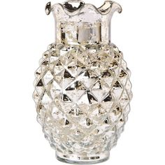 Luna Bazaar Vintage Mercury Glass Vase (6-Inch, Ruffled Pineapple... ($27) ❤ liked on Polyvore featuring home, home decor, vases, mercury glass centerpieces, silver home accessories, silver flower vase, mercury glass home decor and silver vase